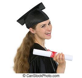 samica, dyplom, skala, student, dzierżawa, szczęśliwy