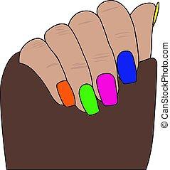 samica, elegancki, siła robocza, manicure, paznokieć, polish.