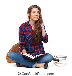 samica, isolated., książka, student, portret, czytanie, szczęśliwy