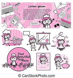 samica, kelnerka, pojęcia, wektor, ilustracje, litera, -, różny, rysunek