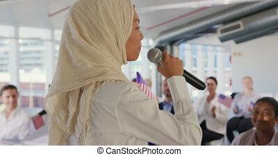 samica, konwencja, polityczny, mówiący, audiencja