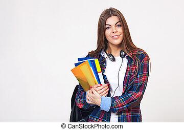 samica, młody, odizolowany, tło., książki, student, biały, szczęśliwy