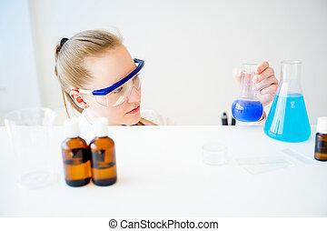 samica, naukowiec, w, niejaki, laboratorium