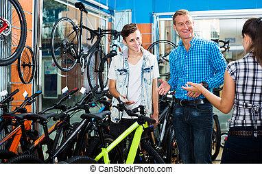 samica, ojciec, pytając, nastolatek, sprzedawca