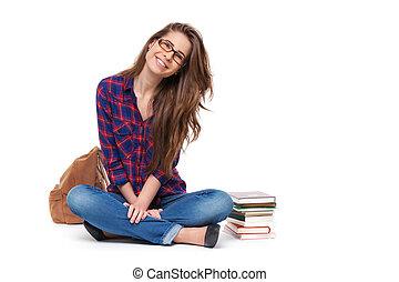 samica, posiedzenie, isolated., student, portret, szczęśliwy