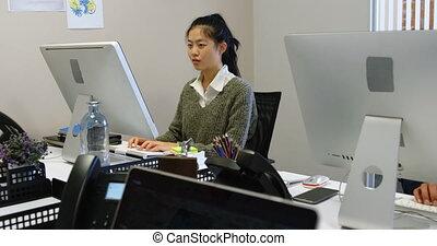 samica, pracujący, wykonawca, 4k, biuro, komputer