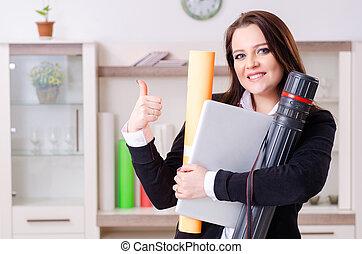 samica, projektant, biuro, pracujący