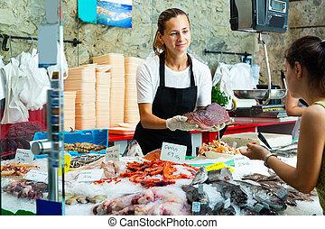 samica, propozycja, świeży, filet, kobieta, tunny