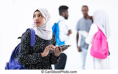 samica, przyjaciele, grupa, student, afrykanin