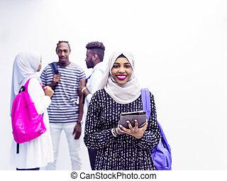 samica, przyjaciele, grupa, student, muslim
