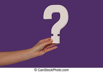 samica, pytanie, do góry, marka, dzierżawa ręka, lewa strona
