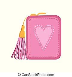samica, różowy, portmonetka, pieniądze, i, finanse, wektor, ilustracja, na, niejaki, białe tło