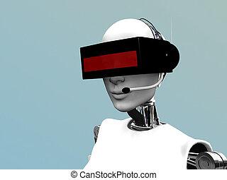 samica, robot, chodząc, futurystyczny, headset.