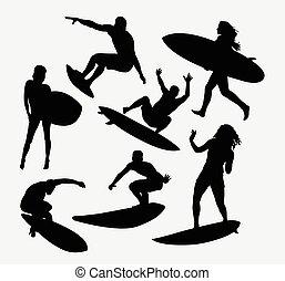 samica, samiec, sport, surfer
