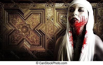 samica, strzyga, z, krew, stains., gotyk, wizerunek,...