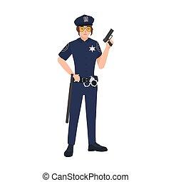 samica, style., policja, litera, odizolowany, tło., dzierżawa, biały, chodząc, płaski, kobieta, sunglasses, barwny, ilustracja, jednolity, rysunek, gun., gliniarz, korona, policewoman., wektor, oficer, albo