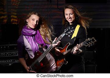 samice, dwa, gitara, młody, skała