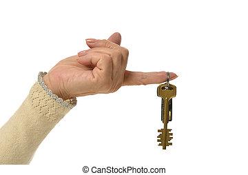 samicza ręka, z, klawiatura