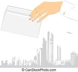samicza ręka, z, koperta