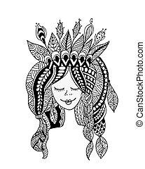 samicze piękno, projektować, portret, etniczny, twój