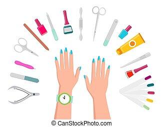 samicze ręki, przybijać blaski, manicure, narzędzia