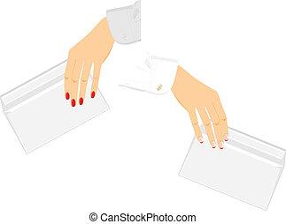 samicze ręki, z, koperty