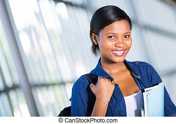 samiczy student, afrykanin, kolegium