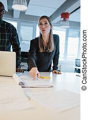 samiczy wykonawca, objaśniając, biznesplan, do, jej, drużyna