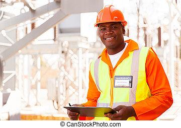 samiec, elektryczny, afrykanin, inżynier