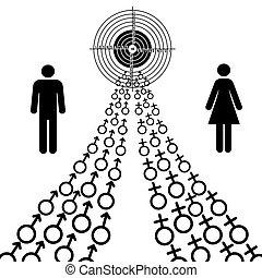 samiec, goal., zmierzać, ilustracja, płeć, symbolika, samica...