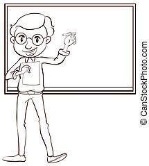 samiec, jasny, nauczyciel, rysunek
