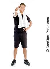 samiec, kciuki, muskularny, do góry