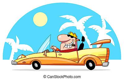 samiec, kierowca, blond
