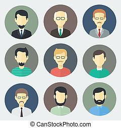 samiec, komplet, twarze, ikony