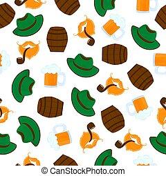 samiec, mustache., foam., kubek, próbka, hat., seamless, piwo, zielony, pipe., palenie, brody, oktoberfest.
