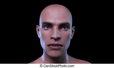 samiec, ożywienie, cyfrowy, twarz, morphing, 3d