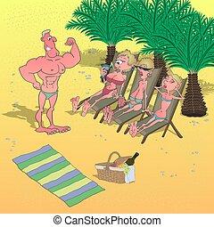 samiec, spotyka, bodybuilder, rysunek, ludzie, plaża., ...