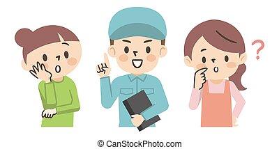 samiec, sumowanie, wątpliwości, pracownicy, gospodynie, rozwiązać, problemy
