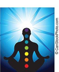 samiec, sylwetka, medytacja, z, chakra