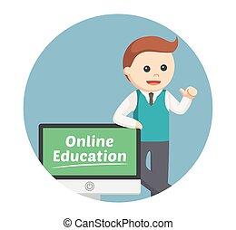 samiec, tło, online, koło, wykształcenie, nauczyciel