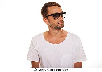 samiec, wzór, z, sunglasses