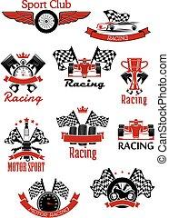 samla, tävlings-, motorsports, ikonen