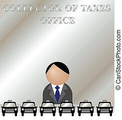 samler, i, skatter, kontor