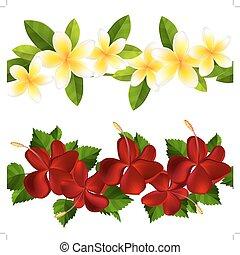 Samless border made of tropical flowers