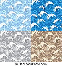 samless, padrões, com, ondas
