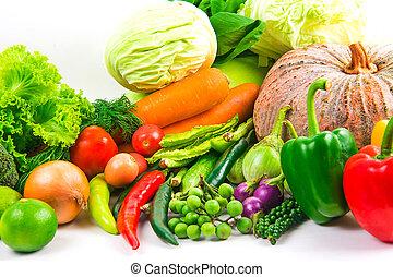 samling, grønsager, isoleret, hvid baggrund