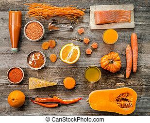 samling, i, appelsin, emne, appelsiner, pumpkin, topview