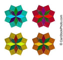 samling, i, farverig, coasters, isoleret