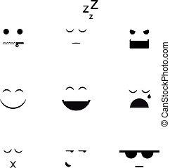 samling, i, forskellige, emoji, vektor, clipart