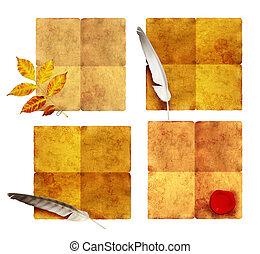samling, i, gamle, parchments